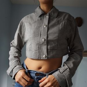 NWTS Houndstooth Cropped Boxy Button-Up Top